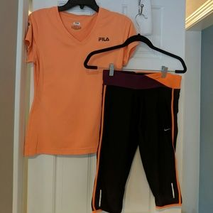 Active wear set- Nike Pants - S / Fila Shirt - M